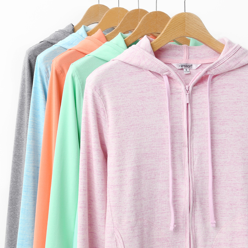 02ffd8213cc aimilian 2017 New Summer Women Cotton Solid Sweatshirts Zipper Knitted Zip  up Hoodies Long Sleeves Candy Color Big Plus Size XXL-in Hoodies    Sweatshirts ...