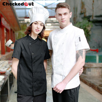 New Short sleeved Summer Clothes Hotel Kitchen Jacket Dining Room Uniform Men and Women Cooks' Overalls Wear Plus Size B 6255