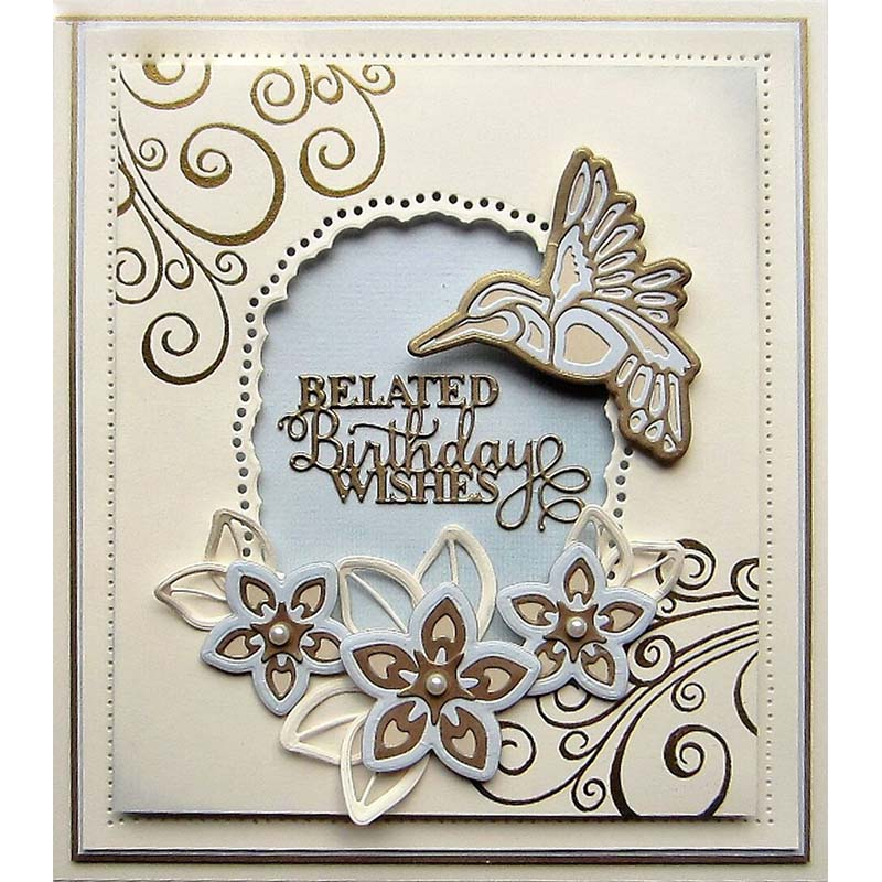 Belated Birthday Wishes Phrase Metal Cutting Dies 2019 Die New for DIY Scrapbooking Embossing Paper Cards Making Crafts Supplies