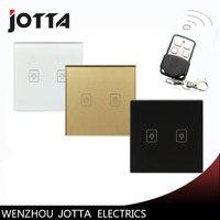 Hot Sale UK 1 Way 2 Gang Ctystal Glass Panel Smart Touch Light Wall Switch Remote