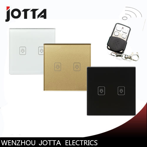 Hot Sale UK 1 Way 2 Gang Ctystal Glass Panel Smart Touch Light Wall Switch Remote Controller White/Black/Gold 1 way 1 gang crystal glass panel smart touch light wall switch remote controller white black gold ac110v 240v