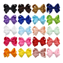 20Pcs/lot New 3.2 inch Grosgrain Ribbon hair Bows Clip with Boutique Accessories Hairpins Bow Hair Ornaments 120