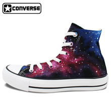 New High Top Original Converse All Star Space Red Bule Galaxy Shoes Custom Design Hand Painted Shoes Man Woman Sneakers