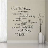 Home we do letter quote pattern Wall Sticker words Mural Decal Cabinet Home Decor poster wallpaper