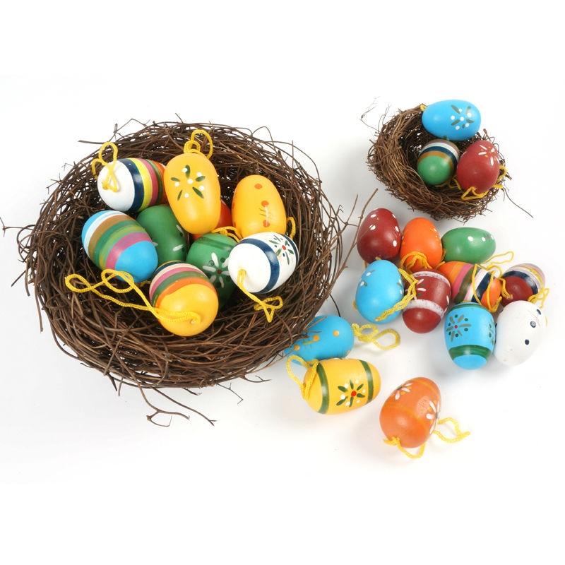 פסחא קישוט אספקה 24pcs עץ פסחא ביצה - חגים ומסיבות