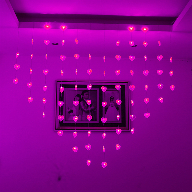 garlands heart led curtain lights indoor christmas lighting valentines day new year curtain lights decoration for
