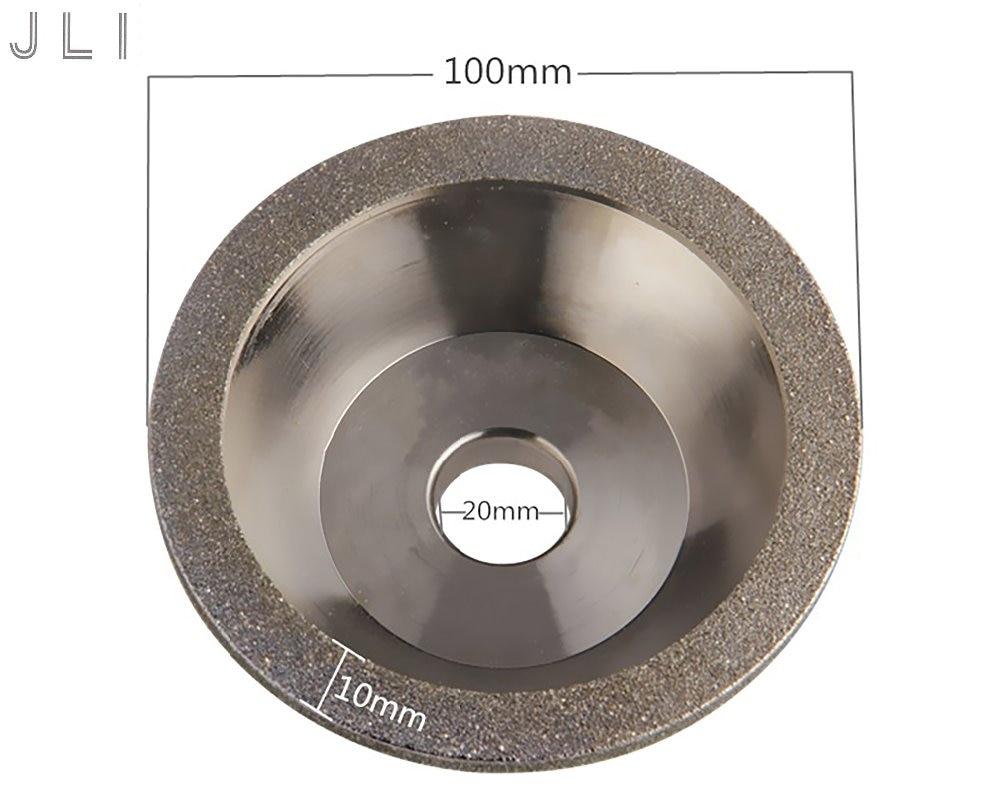 JLI 100mm 60/80/100/120/150/180/240/400 Diamond Grinding Wheels Grain Cutting Disc Bowl Type Saw Blade Grinding Abrasive Tools