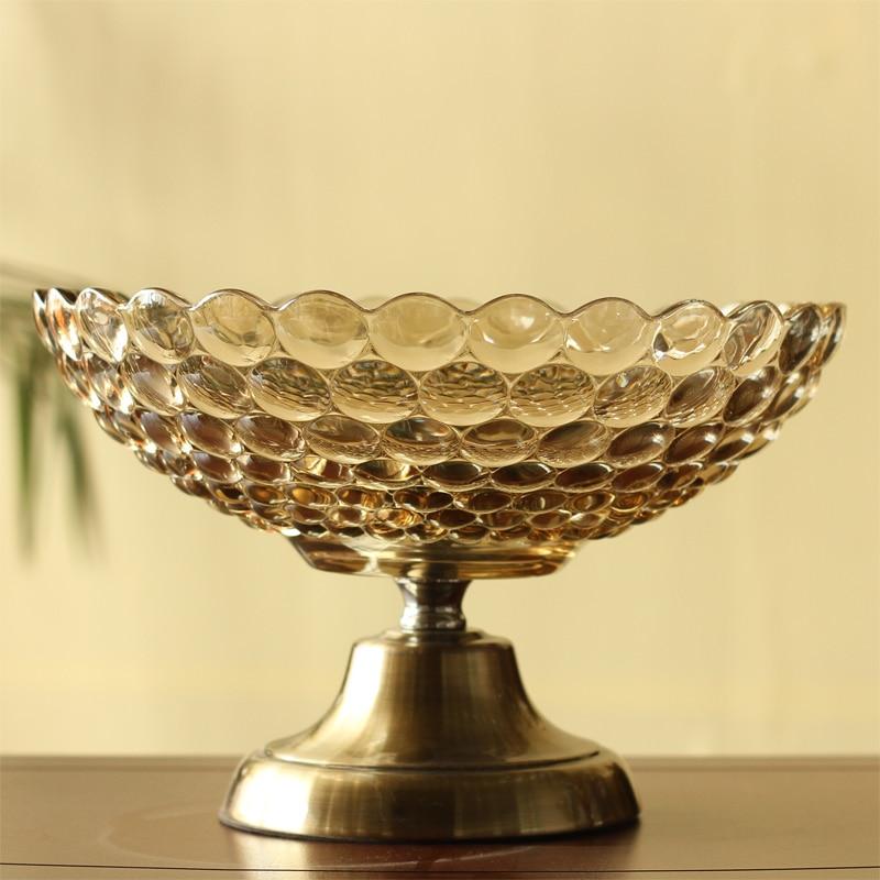American modern classical luxury decor Home Furnishing housewarming gift crystal glass fruit fruit bowl