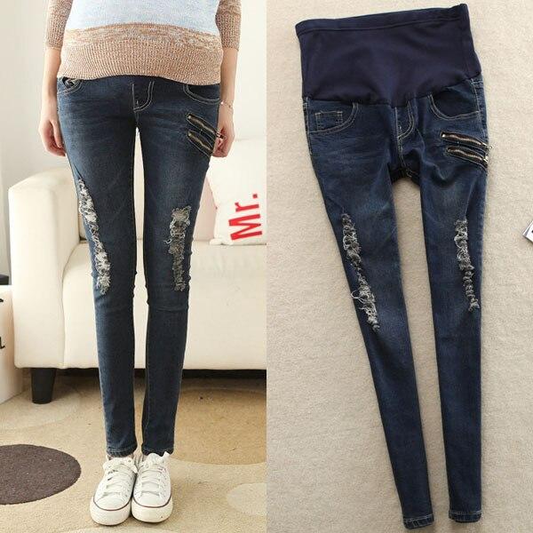 Двойной молнии потёртый отверстия для беременных пресс джинсы брюки беременность брюки для беременных женщины беременность одежда
