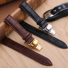 Genuine Leather Watch Band Strap Stainless Steel Butterfly Clasp 13mm 14mm 15mm 16mm 17mm 18mm 19mm 20m 21mm 22mm Watchband Gift цена