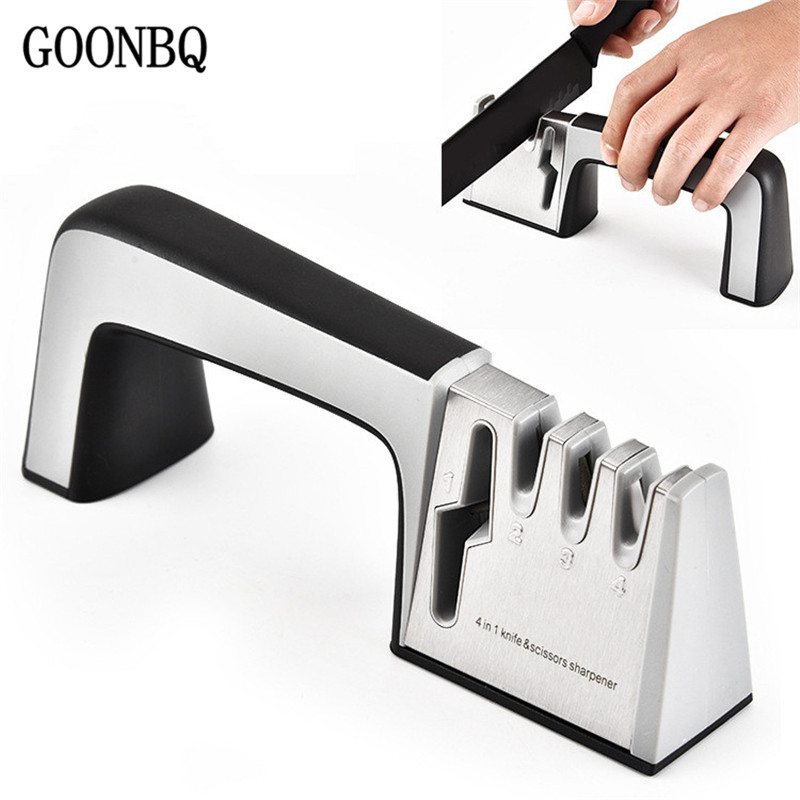 GOONBQ 1 unid 4 en 1 afilador de cuchillos diamante cerámica afilador cuchillo de piedra tijeras afilador herramientas de cocina Dropshipping