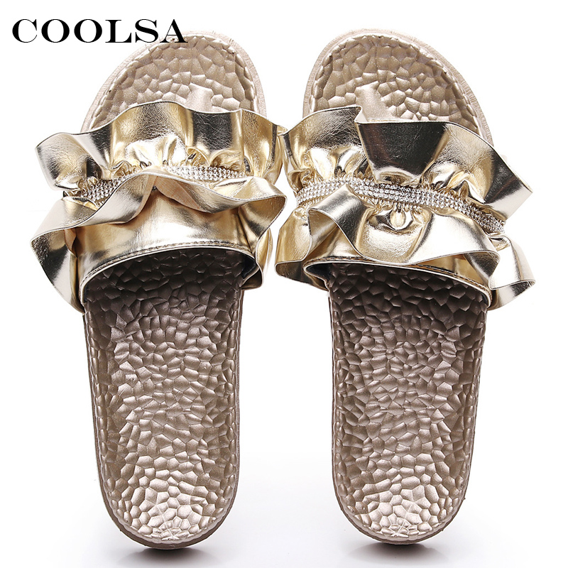 1eef903fd COOLSA Hot Summer Women Beach Sandals Sewing Flowers Slippers Crystal Slides  Flat Indoor Flip Flop Fashion ...