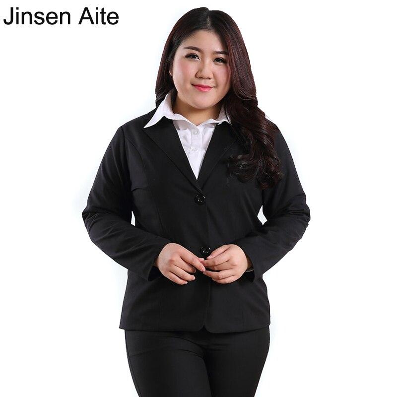 Jinsen Aite Plus Size 3XL-10XL Women Blazers and Jackets New Spring Autumn Office Lady Black Blazer Feminino Large Size Hot JS72