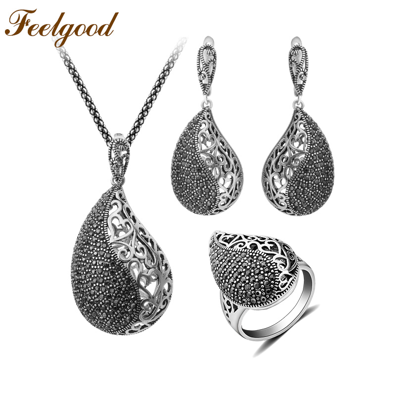 Feelgood Luxury Copper Pave Black Cz Crystal Jewelry Set Vintage Silver Color Teardrop Necklace Earrings Ring Sets 2018 New