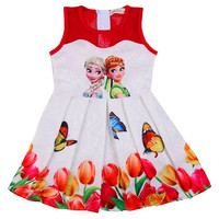Teenagers Butterfly Print Princess Dress For Girls Elza Baby Girl Clothes Summer Girls Mesh Dress Anna