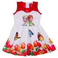 Teenagers Butterfly Print Princess Dress For Girls Elza Baby Girl Clothes Summer Girls Mesh Dress Anna