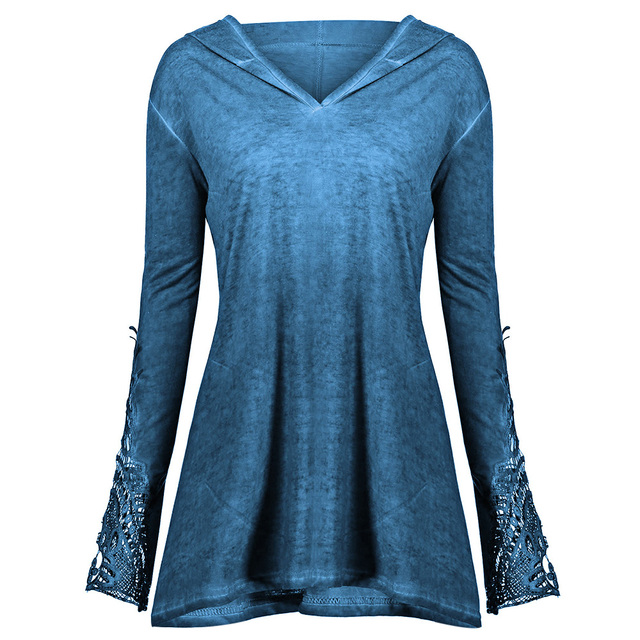 de7d72dce66 Wipalo Autumn New Plus Size Crochet Panel Hoodie Garment Lace Trim Long  Sleeve Solid Color Top Pullovers Hoodie Women S Clothes-in Hoodies    Sweatshirts ...