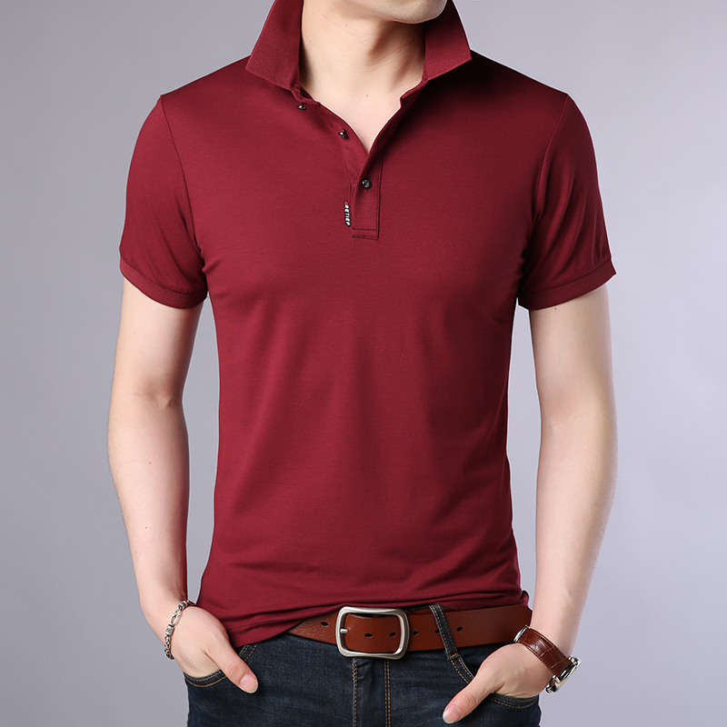 2019 New Fashion Brands Designer   Polo   Shirt Men Spandex Summer Short SleeveSlim Fit Solid Color Poloshirt Casual Mens Clothing