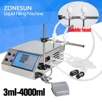ZONESUN Electric Digital Control Pump bottle Liquid Filling Machine small 0.5 4000ml for perfume water juice oil with 2 head