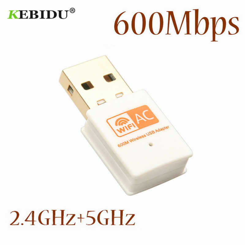 KEBIDU600Mbps USB WiFi Adapter Dual Band 2.4GHz 5GHz WiFi Antenna 802.11b/n/g/ac Mini Wireless Computer Network Card Receiver