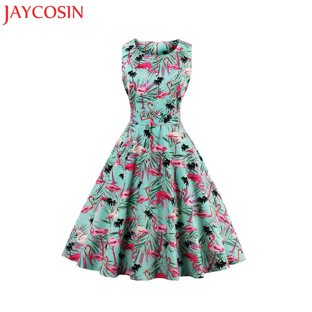 Jaycosin Clothes Women Summer Dresses Girls Female Solid Pockets Pleated O Neck Sleeveless Knee-length Casual Dress Women's Clothing