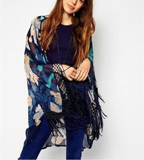 Ct956 nueva moda elegante estampado floral Kimono borla outwear loose vintage cabo capa de la rebeca ocasional tops diseñador de la marca