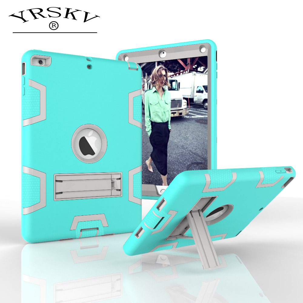 Case for iPad Air 2013 YRSKV New Silica gel Stand + PC Drop resistance Shock Proof tablet Case for iPad Air : A1474`A1475`A1476 silicone shock proof fall proof dust proof case w stand for ipad air 2 9 7 camouflage black