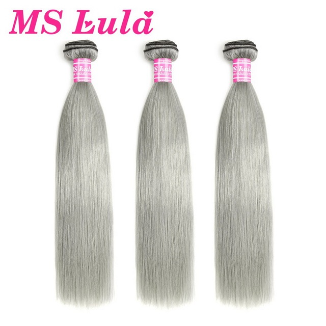 MS Lula Hair Brazilian Straight Colored Hair Grey Human Hair Weave 10 inch-22 inch Remy Hair Free Shipping For Black Women