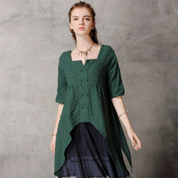 Womens Casual Cotton Tops Tee Shirt Vintage Square collar tops Vintage embroidery irregular Half sleeve shirt Loose Blouse Woman