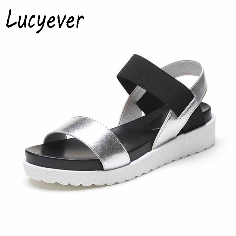 Lucyever Summer Women Gladiator Sandals Open toe Flats Platform Flip Flops Classic Patchwork Leather Student Casual Shoes Woman phyanic 2017 gladiator sandals gold silver shoes woman summer platform wedges glitters creepers casual women shoes phy3323