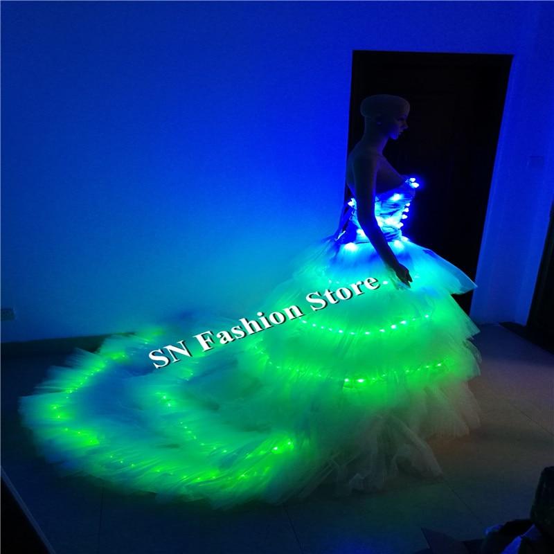 SS7 LED světelné svatební šaty ženy molu pódium show RGB podprsenka oblečení společenský tanec led kostýmy sexy party dj zpěvák nosí