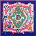 Новый Саржевого Шелковый Шарф Женщин 130*130 см Рим Часы Ретро цветок Печати Квадратные Шарфы Высокое Качество Подарок Мода Большой Шелковый платки