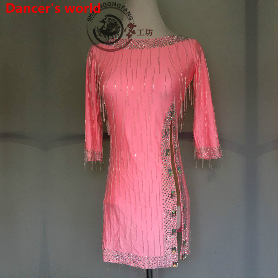 Customizable Colors Tassel Latin Dance Dress Women Dancing Dress Long Sleeves Style Back Opening Latino Costumes For Salsa Tango