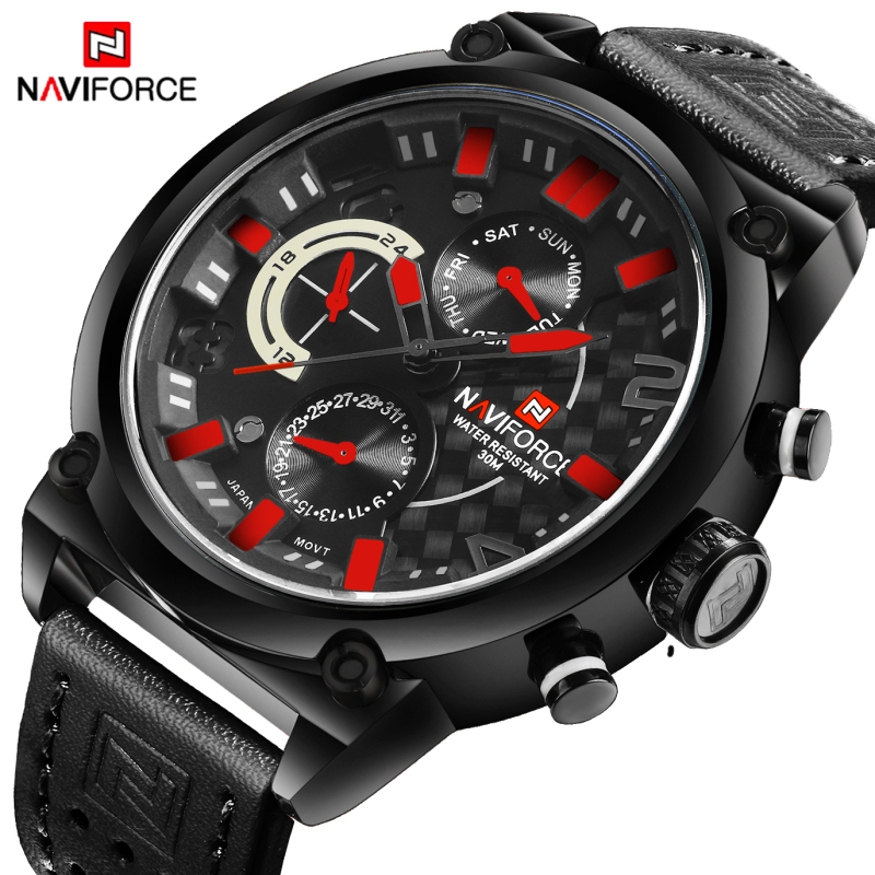 NAVIFORCE Brand Military Watches Men Quartz Chronograph 6 Hands Leather Clock Man Sports Army Wrist Watch Relogios Masculino  jedir brand men sports watches 2017 genuine leather military wristwatch racing men chronograph watch male glow hands clock