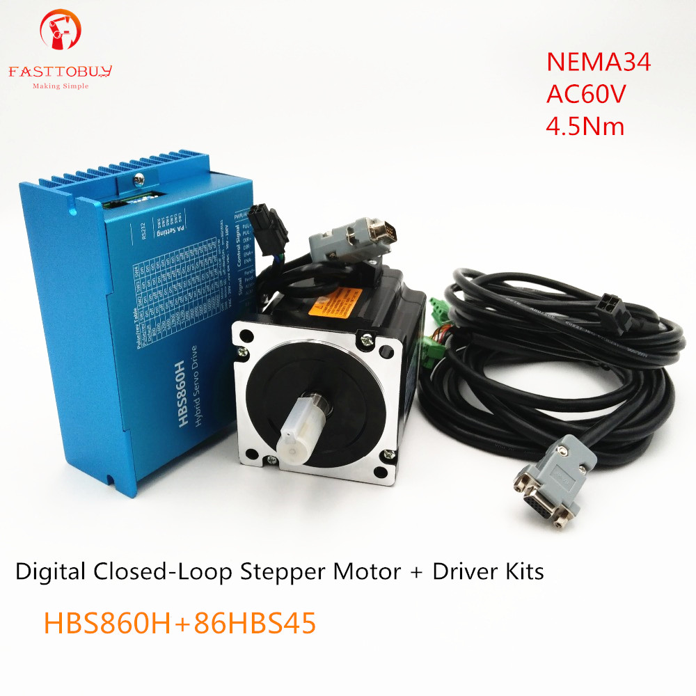 bb834c11b47ec Digital Stepper Drive Motor Matching AC60V 4.5Nm NEMA34 CNC Mill Closed  Loop Stepper Drive+Motor kit HBS860H+86HBS45