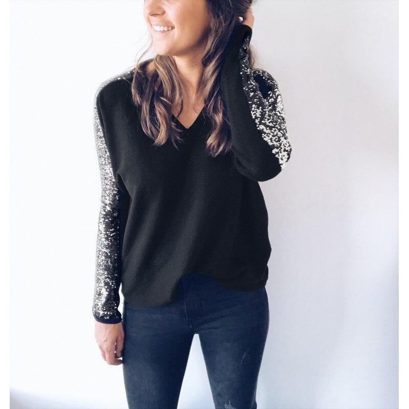 4181a365a3 Comprar Camisas de mujer moda 2019 lentejuelas patchwork womens camiseta  Camiseta de manga larga harajuku tee camisetas de cuello en V lentejuelas  camiseta ...