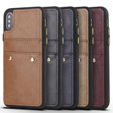 hot deal buy luxury rivet style case for iphone 7 7 plus vertical card slots anti-knock pu leather case cover for apple iphone 7 plus shell