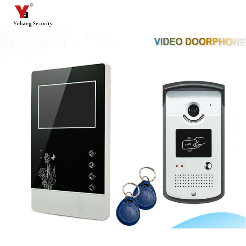 Yobang Security freeship 4.3 Video Door Color Video Monitor Kit Video Doorbell Phone Video Intercom Night Vision camera RIFD yobang security freeship 4 3 inch video door color video monitor kit video intercom and video doorbell ir camera night vision