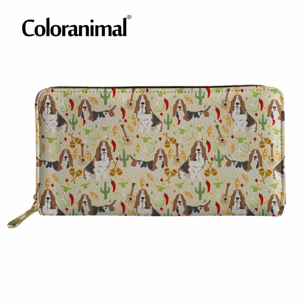 Coloranimal Women Men's Fashion Long Handbags Wallet Basset Hound Print Shopper Leather Wallet Card Holder PU Purse Clutch Bag finger print pu wallet