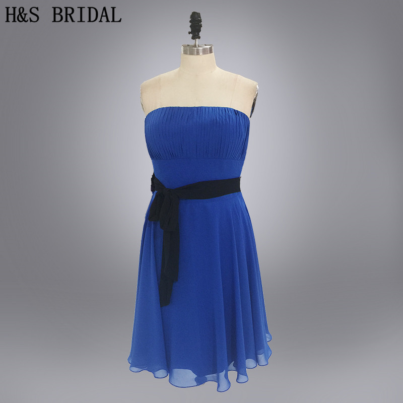 Real photo short chiffon blue   bridesmaid     dresses