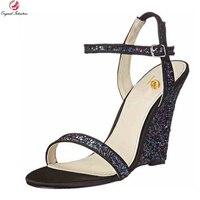 Intenzione originale Nuove Donne Sexy Sandali di Modo di Scintillio Zeppe Open Toe Elegante Blu Oro Argento Scarpe Donna Plus Size 3-10.5