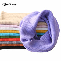 QingTeng 2018 Women Scarf Lic Ring Winter Knitted Cashmere Wool Tube Neck Warmer Scarf Necklace Female