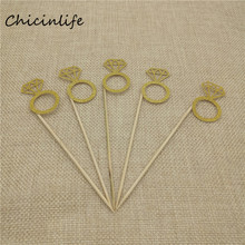Chicinlife 5pcs/lot Glitter Diamond Ring Cupcake Topper Wedding Decoration Birthday Baking Decoration