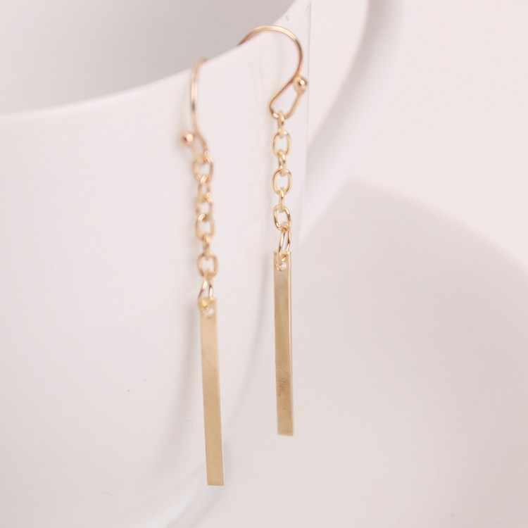 2017 estilo europeo pendientes de moda de cadena larga recta pendientes de gancho de oreja joyería fina Punk para mujer
