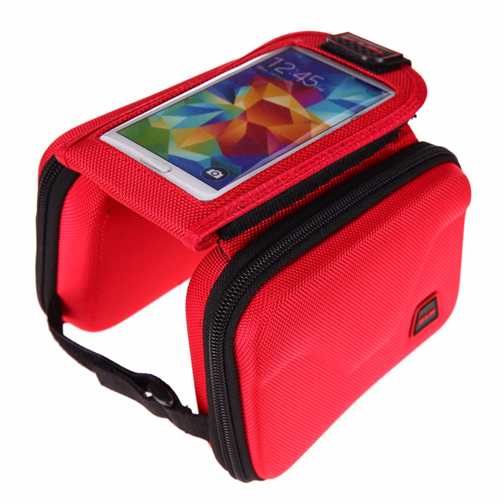 Outdoor MTB Road Bike Frame Saddle Bag Top Tube Bag Bike Tube Pannier Bicycle Pouch Cycling Touch Screen 5.5 Phone Holder