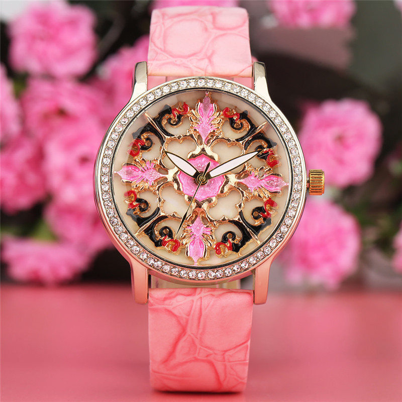 2017 New Arrival Charming Ladies Quartz Watch Flower Design Dial PU Leather Band Elegant Casual Watches Best Gift reloj femenino bronze cool full hunter anchor pirate design theme fob pocket watch quartz roman number dial casual fashion chain best gift kids