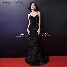 Long Black Mermaid Celebrity Dresses 2018 Sleeveless Elegant Sexy Formal Evening Gown Angel Novias with Spaghetti