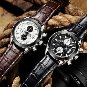 Image 4 - MEGIR Original Men Quartz Watch Reloj Hombre Leather Business Watches Man Clock Chronograph Army Military Watch Sport Male 2020