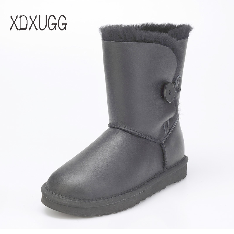 2018 New Quality Assurance, Sheep skin Wool waterproof Snow boots female Calf Height winter flat bottom warm Boots Free Shipping2018 New Quality Assurance, Sheep skin Wool waterproof Snow boots female Calf Height winter flat bottom warm Boots Free Shipping