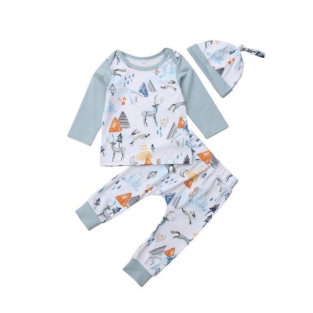 37e4de7bb Emmababy 3PCS Newborn Toddler Baby Boy Girl Unisex Long Sleeve T-shirt  Tops+Pants Outfits Set Autumn Clothes